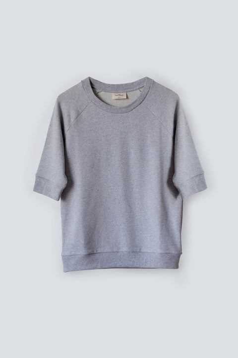 Relaxed fit women's grey sweatshirt with 3/4 length sleeves and made from a soft 100% organic cotton terry