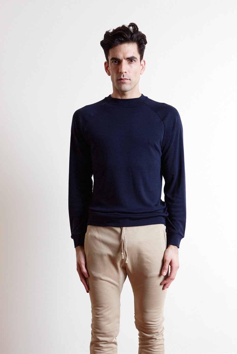 The white briefs sweater made in a fine merino wool rib