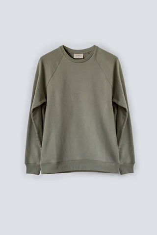 Khaki men's regular fit sweatshirt made from organic cotton terry