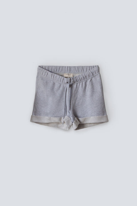 Women's organic cotton terry mini sweat shorts with elastic waist in grey marle