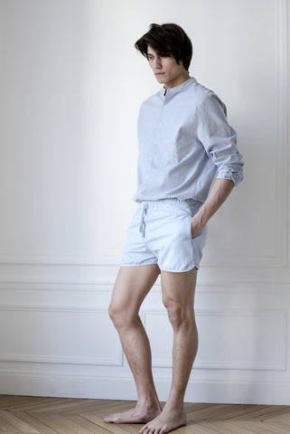 the white briefs chinoise collar shirt made in a sturdy stripe blue white woven fabric