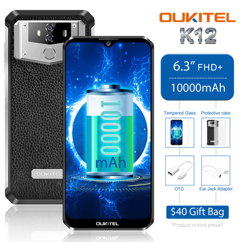 Oukitel K12 is another model in the K-series. It comes with a 10000mAh battery.