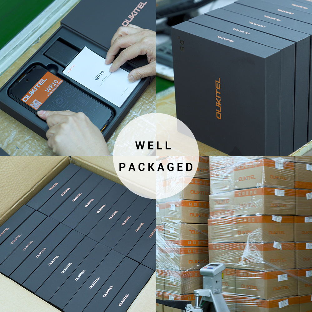 Oukitel WP10 5G smartphone are neatly packaged for shipping