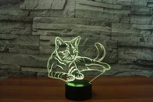 Adorable 3D Cat Optical Illusion LED Lamp with & Colors