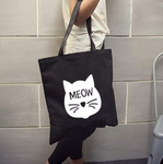 Women's Canvas School and Shopping Cat Shoulder Bag
