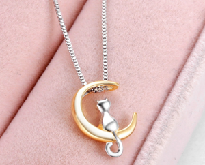 Cat on the Moon Pendant Necklace