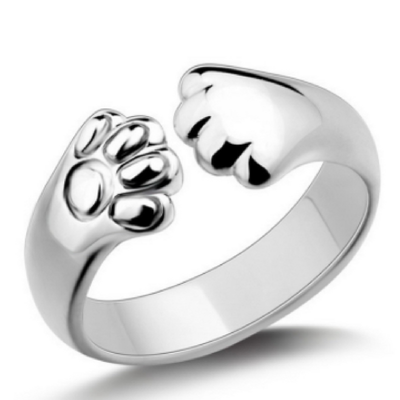 Silver Plated Cat Paw Ring