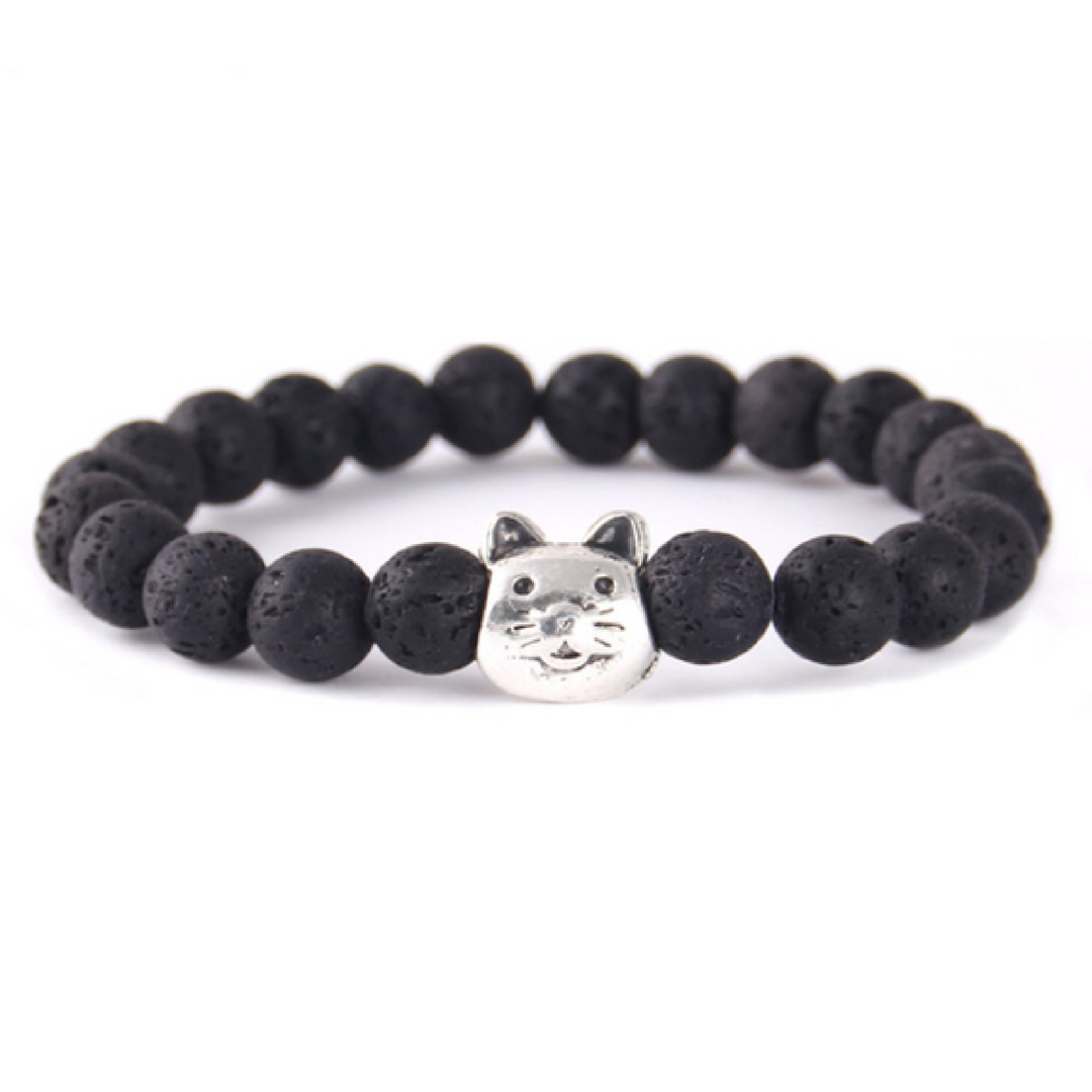 Cat Lover's Lava Bead Bracelet