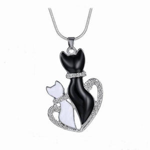 Beautiful White & Black Cat Pendant Necklaces in 8 Unique Designs