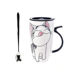 Unique Cat Coffee Mugs with Lid and Spoon 600ml