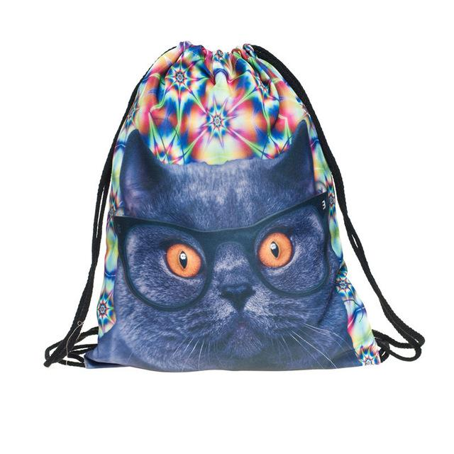 Space Cats 3D  Drawstring Bag/Mini Backpack (11 Designs)