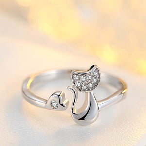 Cat Heart Open Adjustable Ring - Gold or Silver Plated