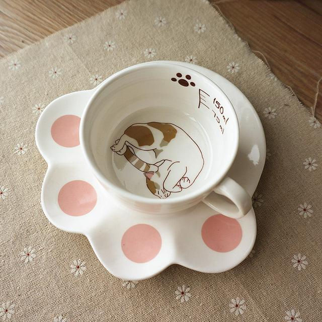 Ceramic Lazy Cat Teacup and Paw Shaped Saucer