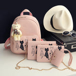 4pc Leather Backpack & Purse Set