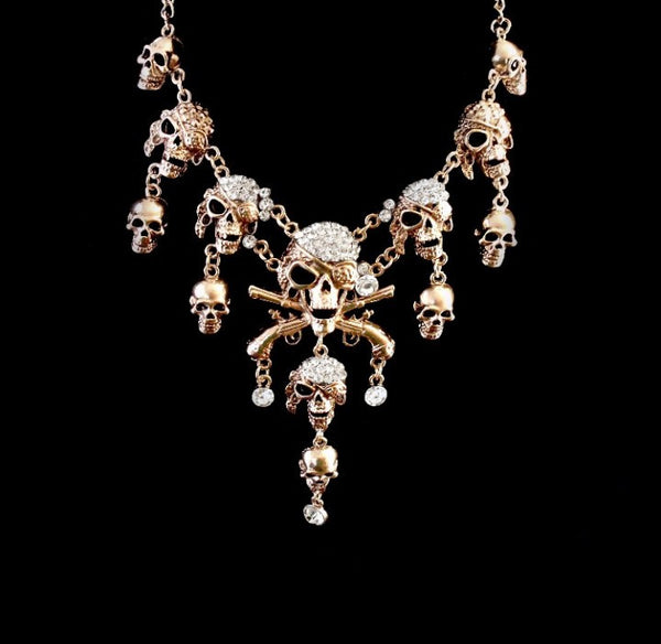 Skull Crystal Charms DC Necklace