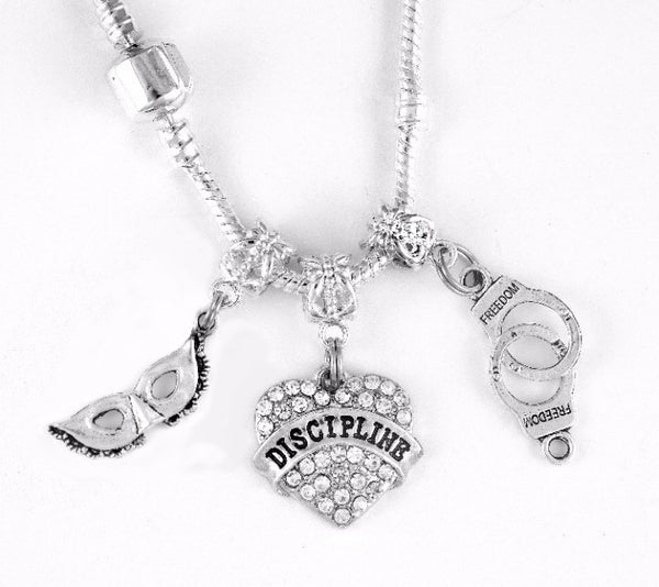 Mask/Discipline Heart/Handcuffs Charm SC Necklace