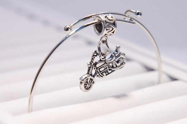 Motorcycle Charm Bangle Bracelet