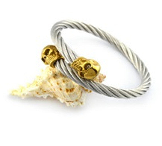 Silver Rope and Gold Skull Bracelet