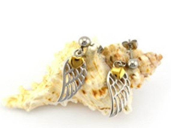 Silver and Gold Angel Wing Earrings