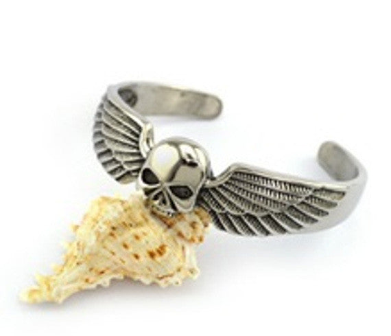 Skull and Angel Wings Cuff