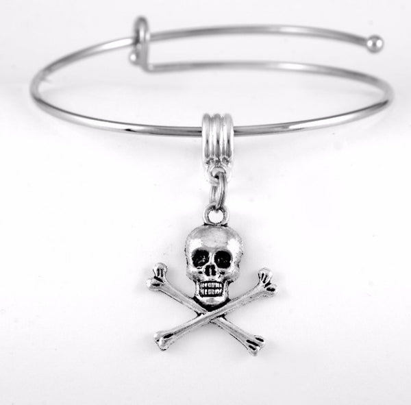 Skull and Crossbones Charm Bangle Bracelet