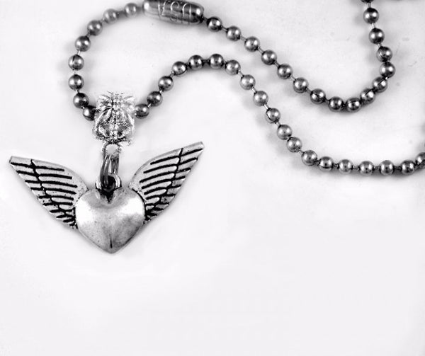 Winged Heart Charm BC Necklace