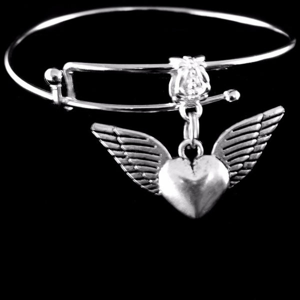 Winged Heart Charm Bangle Bracelet