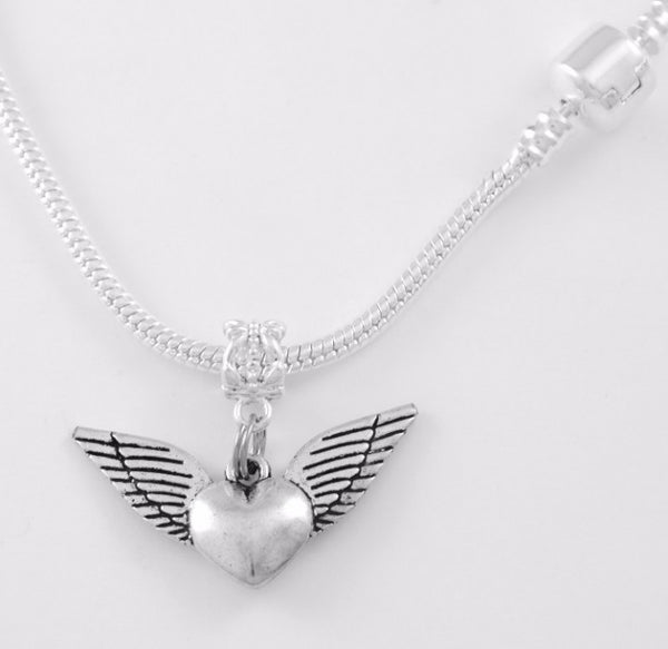 Winged Heart Charm SC Necklace
