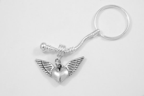 Winged Heart Charm Keychain