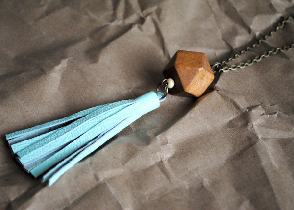 Leather and Wood Tassel Necklace