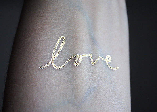 Metallic Gold Love Tattoo