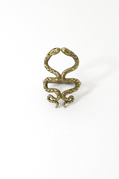 Brass Kissing Snakes Ring