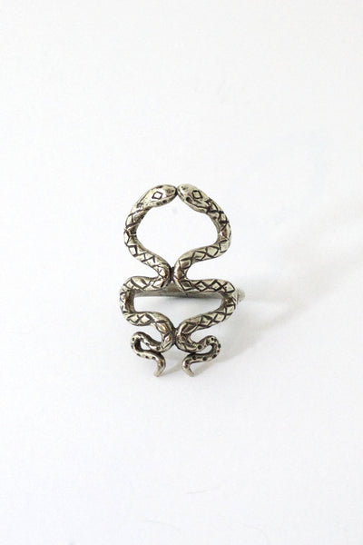 Sterling Silver Kissing Snakes Ring
