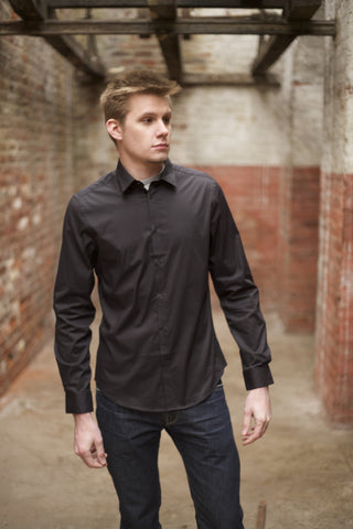 Black Slim Fit Stretch Soho shirt