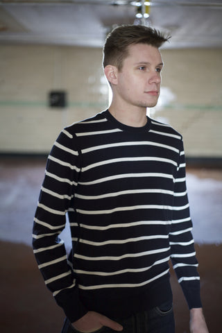 Navy Stripe Crew Neck Sweater