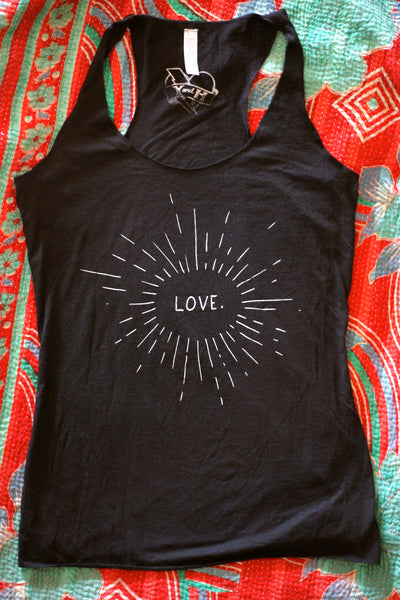 Love Racer Back Tank - Black