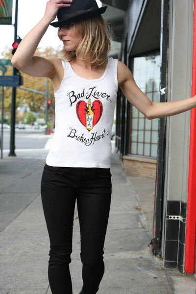 Bad Liver and a Broken Heart Lace Tank White