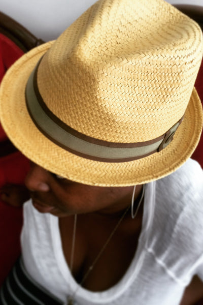 Hammond Square Crown Flip Up Woven Fedora