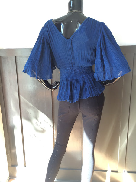 Solana Ruffle Top Hot Blue