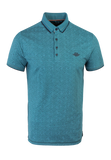 Polo pique met geometrische all over print | Kale Green