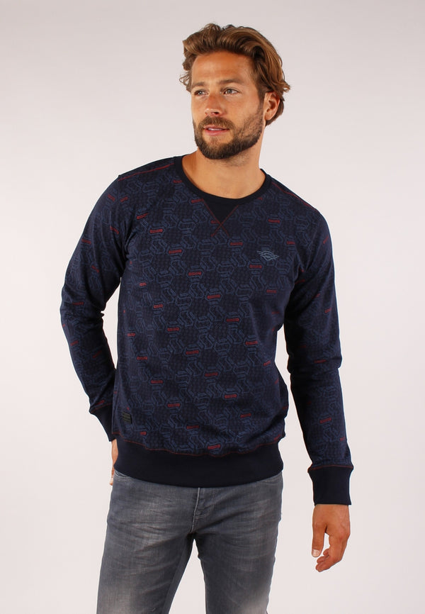 77106 sweater met all over geometrisch print | Navy