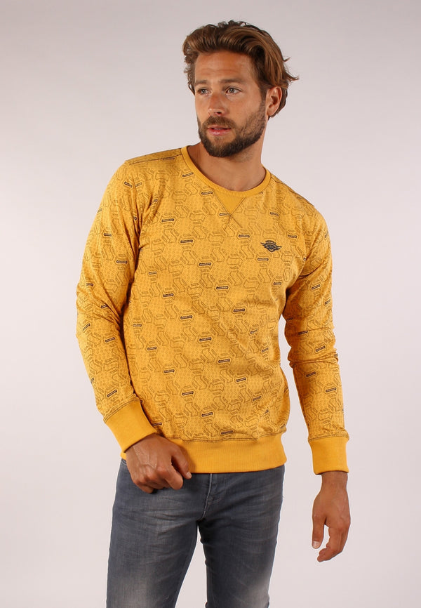 77106 sweater met all over geometrisch print | Yellow