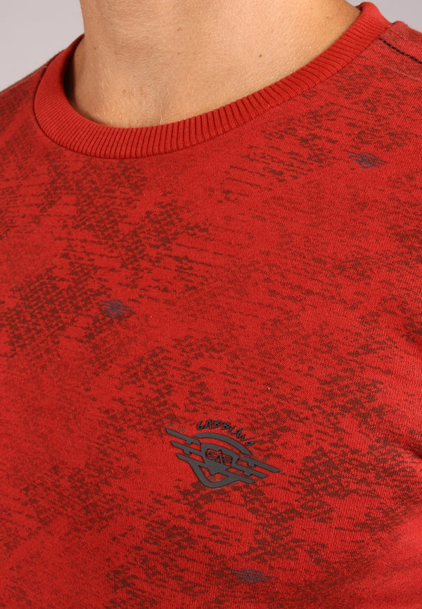 77107 sweater met all-over geometrische print | Terracota
