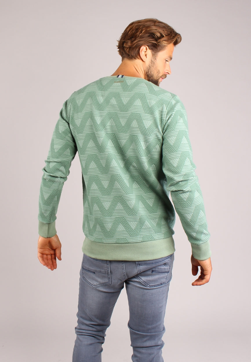 sweater in all-over geometrische jacquard structuur