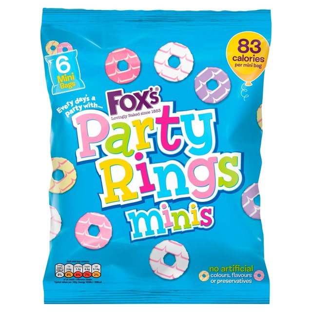 Fox's 6 Mini Party Rings Bags 126g