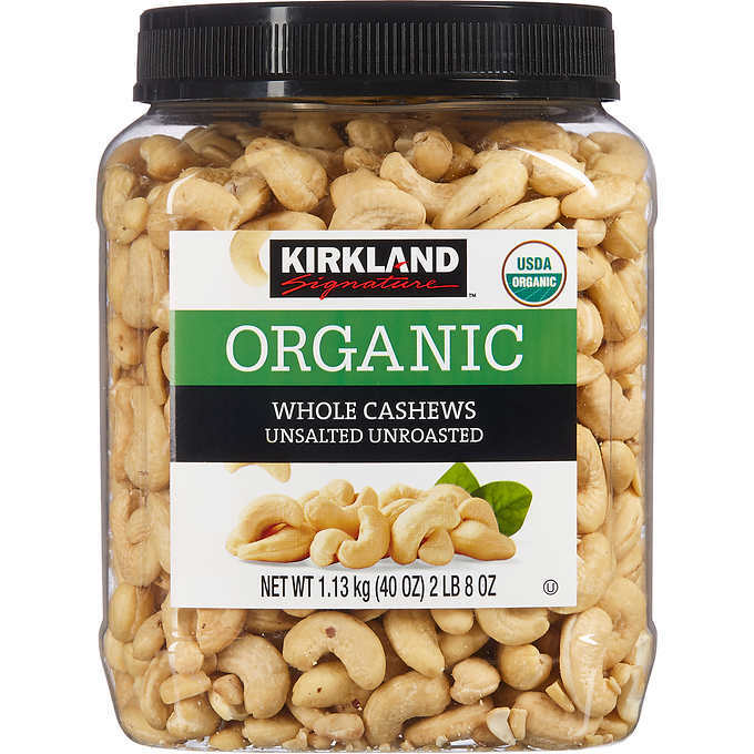 Kirkland Organic Raw Whole Cashews Unsalted Unroasted, 40 oz.