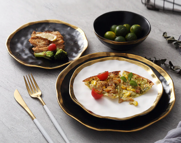 Gold Inlay Ceramic Dinner Plates