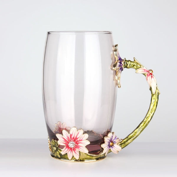 Hand Painted European Glass Cup