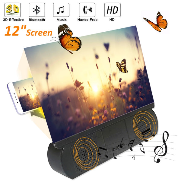 12'' Mobile Phone Screen Magnifier 3D HD Screen With Bluetooth Speaker