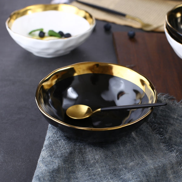 Round White Black Ceramic Salad Bowl Gold Japanese Style Noodle Container For Soup Rice Bowl Ceramica Set Kitchen Tool Tableware